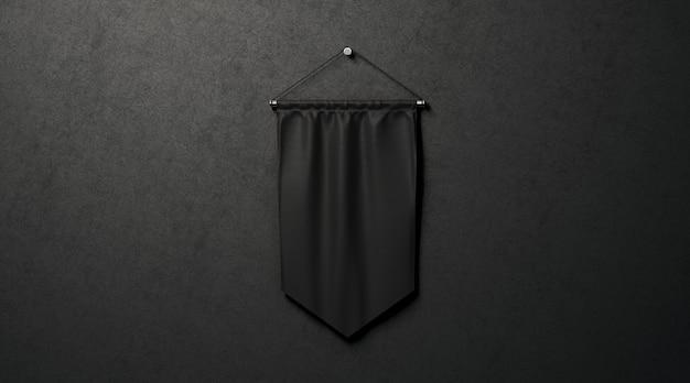 Maquete de flâmula de losango preto em branco, perto de parede escura, renderização em 3d.
