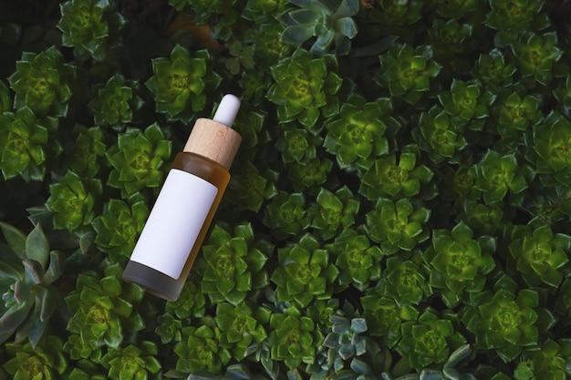 Maquete de frasco de vidro conta-gotas em fundo verde com plantas e etiqueta branca