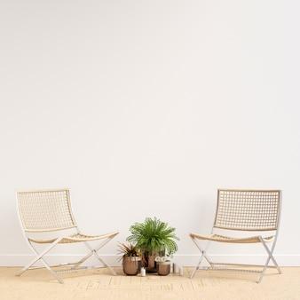 Maquete de galeria de parede interior com cadeiras e decoração de planta