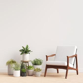 Maquete de galeria de parede interior com decoração de cadeira e planta
