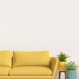 Maquete de galeria de parede interior com decoração de sofá e planta