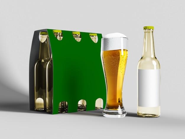 Maquete de garrafa de cerveja amarela isolada - rótulo em branco