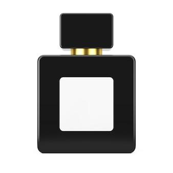Maquete de garrafa de perfume de cubo preto com rótulo em branco para seu projeto em um fundo branco. renderização 3d