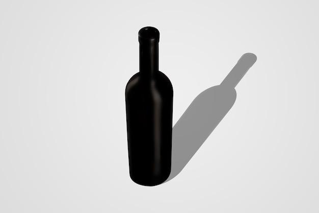 Maquete de garrafa de vinho isolada em fundo cinza suave