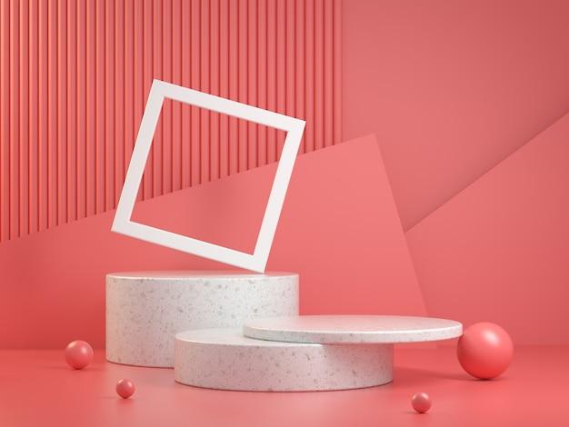 Maquete de geometria abstrata de etapas de composição de pódio branco