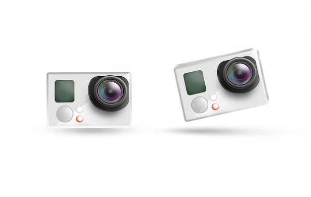 Maquete de ícone de câmera de ação, isolado.