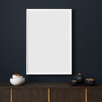 Maquete de imagens com moldura vertical branca na parede azul escuro