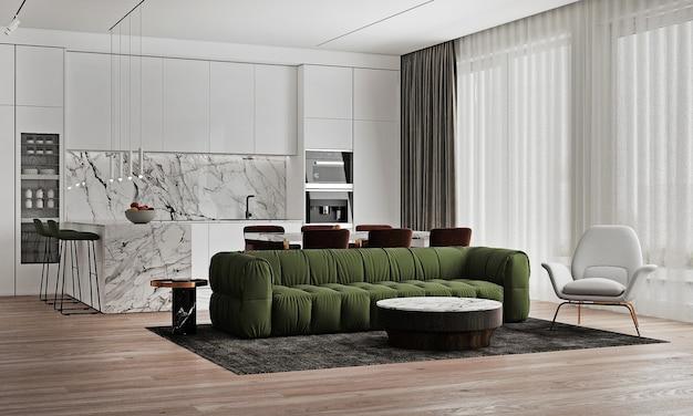 Maquete de interior de casa moderna e espaço de sala de jantar, mesa de chá aconchegante e decoração em sala de estar branca, renderização 3d