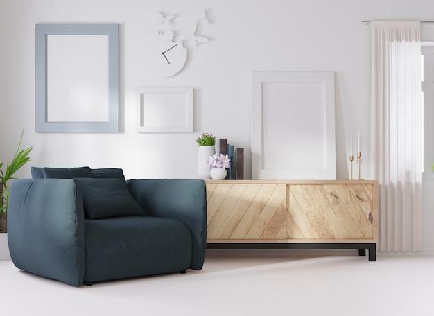 Maquete de interior em uma sala branca, um sofá azul escuro é colocado ao lado de uma moldura de foto na parede