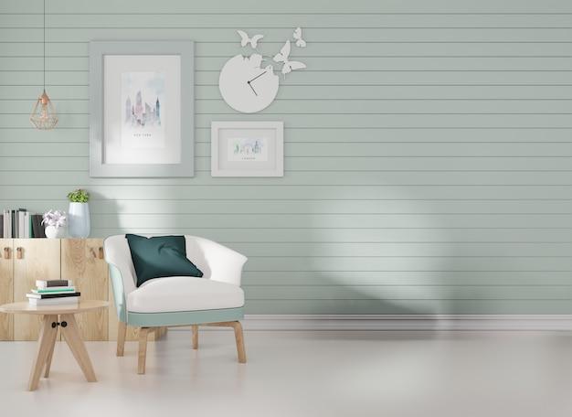 Maquete de interior em uma sala com ripas azuis na parede e uma moldura de uma poltrona azul posta