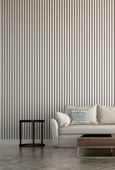 Maquete de interior moderno com design de fundo de sala e parede padrão e belo conjunto de decoração de sofá