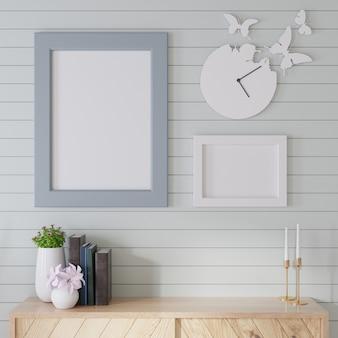 Maquete de interior um armário de madeira com ripas azuis na parede e molduras de fotos é colocado em uma sala