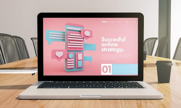 Maquete de laptop de estratégia online na renderização 3d da sala de conferências