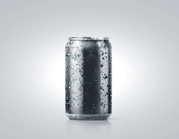 Maquete de lata de refrigerante de alumínio frio preto com gotas, 330 ml