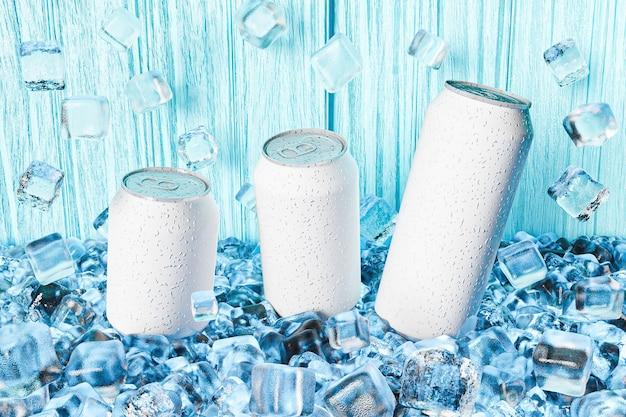 Maquete de latas de alumínio em cubos de gelo com fundo de madeira