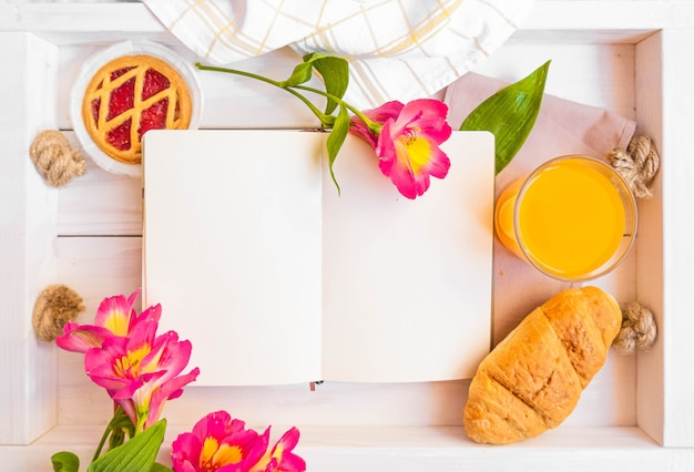 Maquete de livro de receitas de estilo rústico