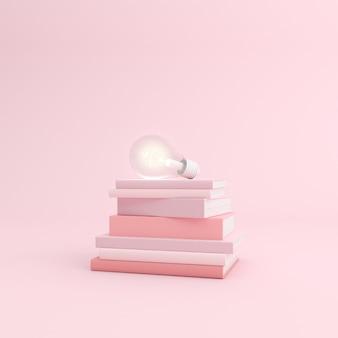 Maquete de livro empilhado e lâmpada