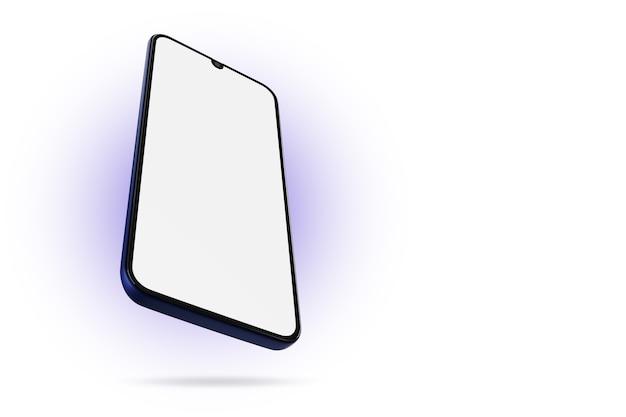 Maquete de mão com um celular preto com tela branca em fundo isolado. renderização 3d