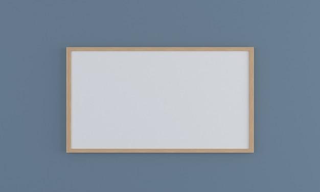 Maquete de moldura de madeira horizontal na parede