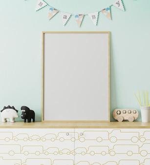 Maquete de moldura de pôster de madeira em branco no interior do quarto das crianças com parede azul claro e bebê com guirlandas, cômoda com impressão de carro, brinquedos, interior da sala de jogos, renderização em 3d
