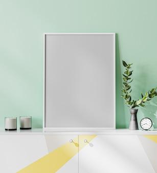 Maquete de moldura de pôster em branco em um interior moderno e luminoso com parede verde claro, vaso e velas, renderização 3d