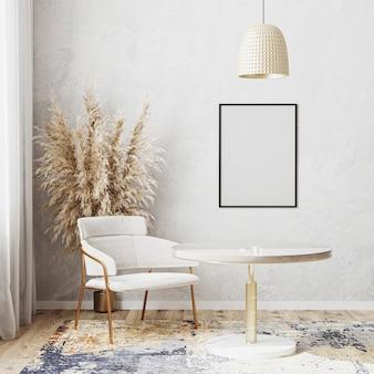 Maquete de moldura de pôster em branco em um quarto bem iluminado com mesa de jantar redonda de luxo, renderização em 3d