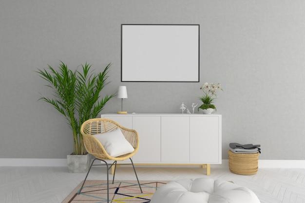 Maquete de moldura horizontal de sala de estar escandinavo