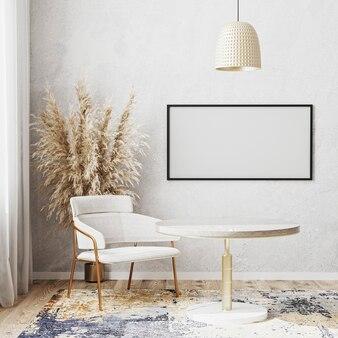 Maquete de moldura horizontal em branco em um quarto bem iluminado com mesa de jantar redonda de luxo