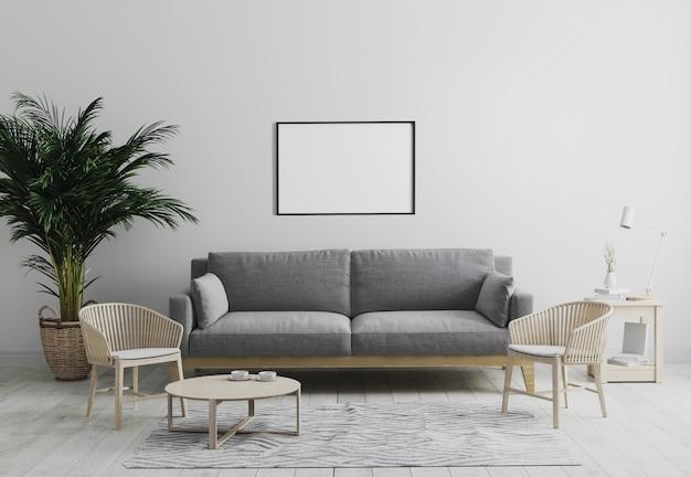 Maquete de moldura horizontal em branco na moderna sala de estar interior em tons de cinza com sofá cinza e poltrona de madeira