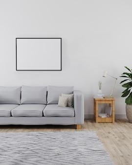 Maquete de moldura horizontal no interior moderno e minimalista da sala de estar com sofá, parede branca e piso de madeira com tapete cinza, interior moderno, estilo escandinavo, 3d render
