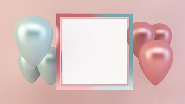 Maquete de moldura quadrada com balões rosa e azuis
