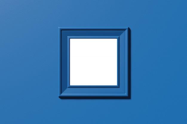 Maquete de moldura quadrada. modelo de imagem, foto, texto. cena horizontal abstrata mínima elegante, lugar para texto. cor azul clássica na moda. renderização em 3d