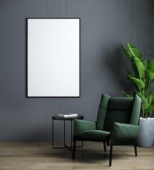 Maquete de moldura vertical no interior moderno escuro com poltrona verde e planta.