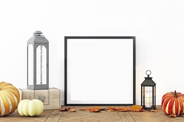 Maquete de molduras de fotos em moldura preta de decoração de outono