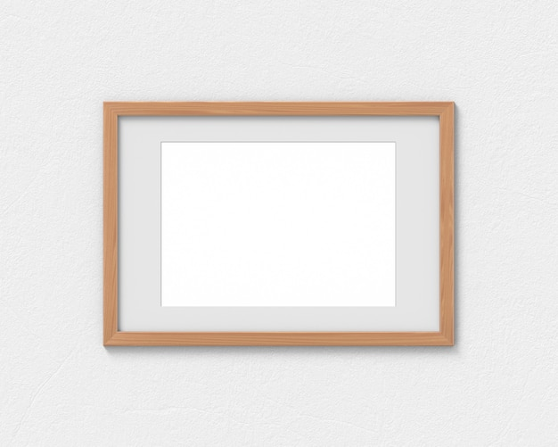 Maquete de molduras de madeira horizontal com uma borda pendurada na parede. base vazia para imagem ou texto. renderização em 3d.