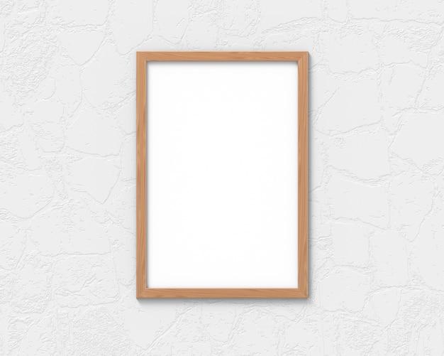 Maquete de molduras de madeira vertical com uma borda pendurada na parede. base vazia para imagem ou texto. renderização em 3d.