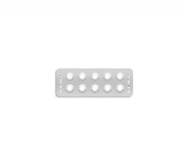 Maquete de pacote de pílula branca em branco, isolada