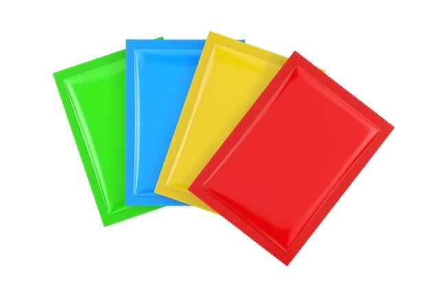 Maquete de pacotes de saco em branco colorido sobre um fundo branco. renderização 3d