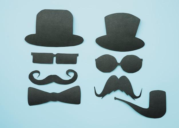 Maquete de papel preto de cavalheiros
