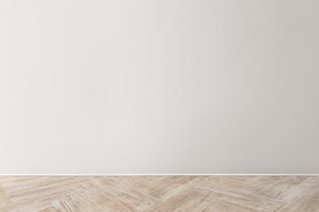 Maquete de parede de concreto em branco cinza com piso de madeira