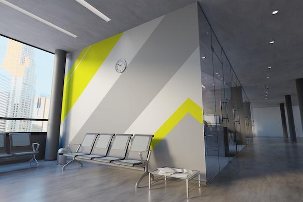 Maquete de parede de escritório de vidro
