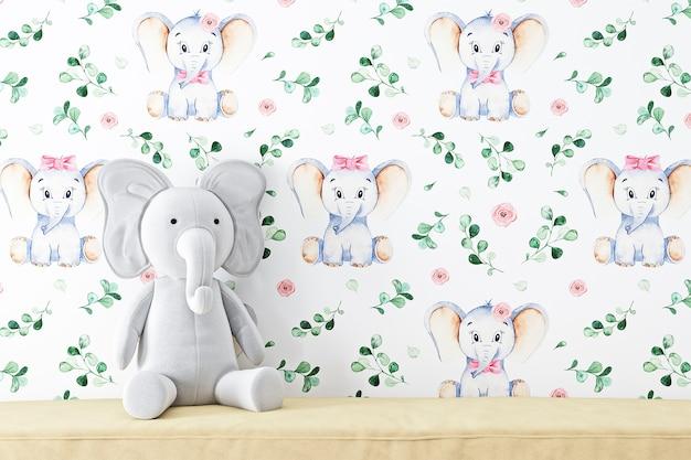 Maquete de parede em branco infantil para o seu produto e brinquedo de pelúcia