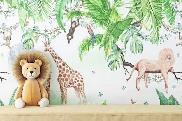 Maquete de parede em branco infantil para o seu produto e um leão de pelúcia