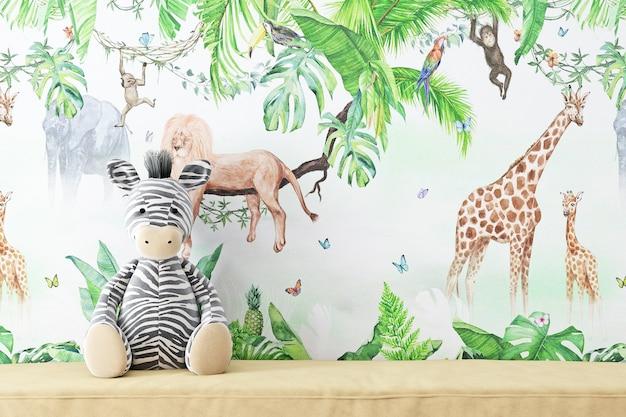 Maquete de parede em branco infantil para o seu produto e zebra de pelúcia