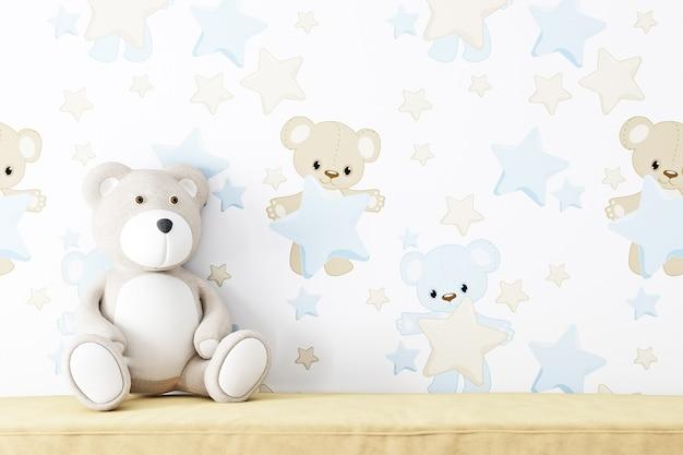 Maquete de parede em branco para crianças e bea de pelúcia
