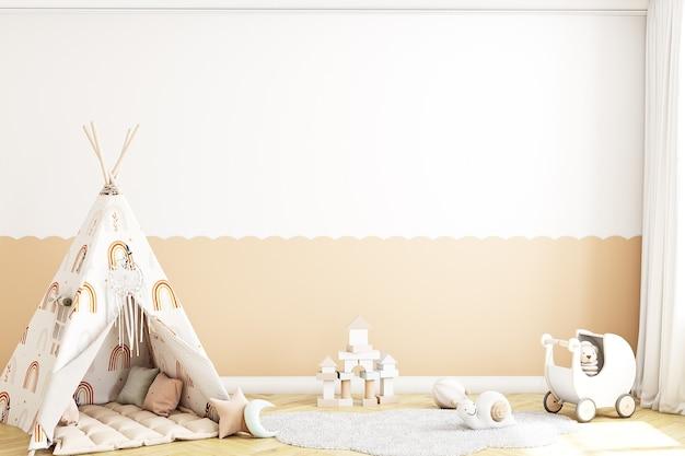 Maquete de parede em branco, quarto infantil no estilo boh