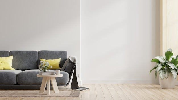 Maquete de parede interior com sofá na sala de estar com fundo de parede branco vazio. renderização 3d