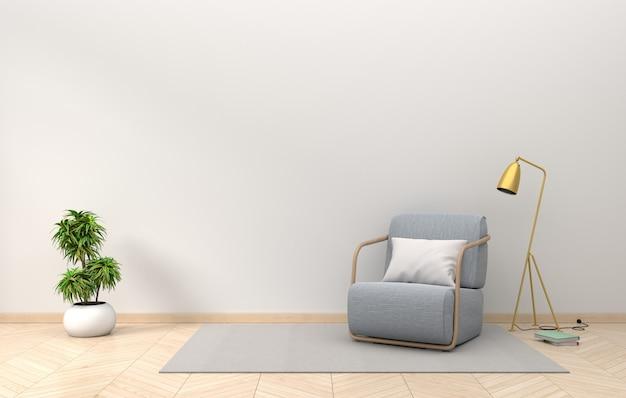 Maquete de parede interior de sala de estar com lâmpada de tecido poltrona dourada e plantas