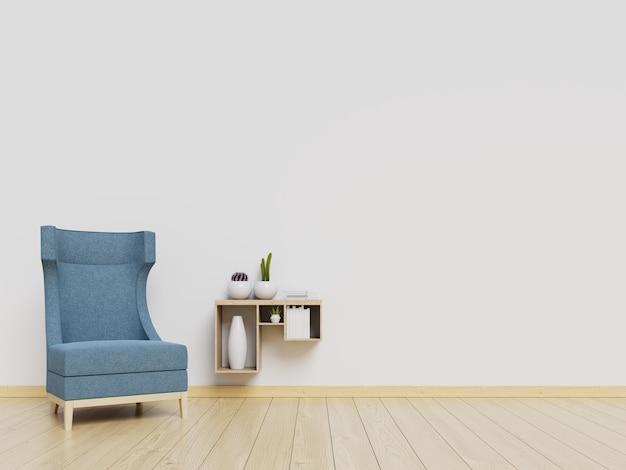Maquete de parede interior de sala de estar com poltrona azul e fundo de parede branca