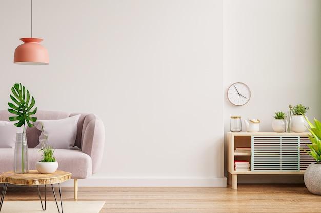 Maquete de parede interna com sofá e armário na sala de estar com fundo de parede branco vazio. renderização 3d